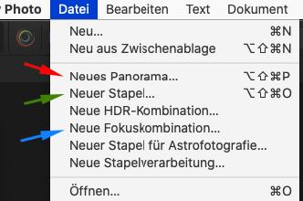 Affinity-Dateimenue